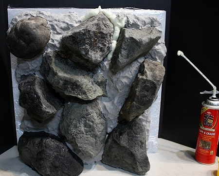 how to use expanding foam to make realistic rocks